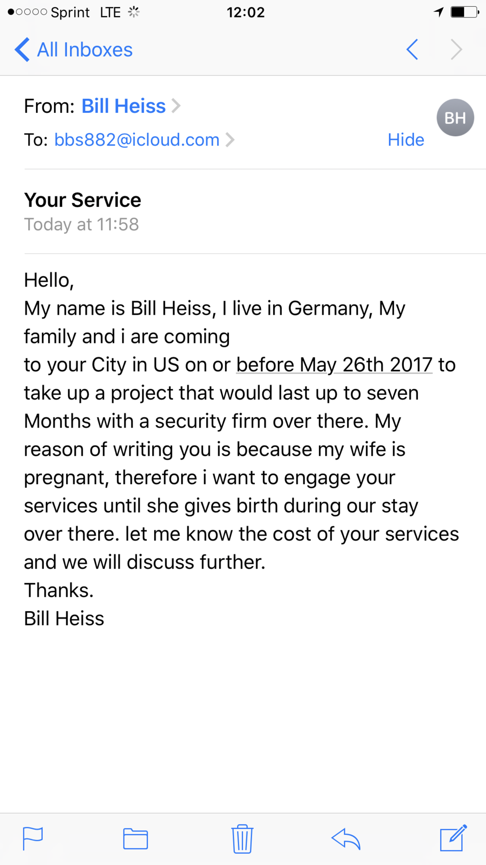 doula scam email