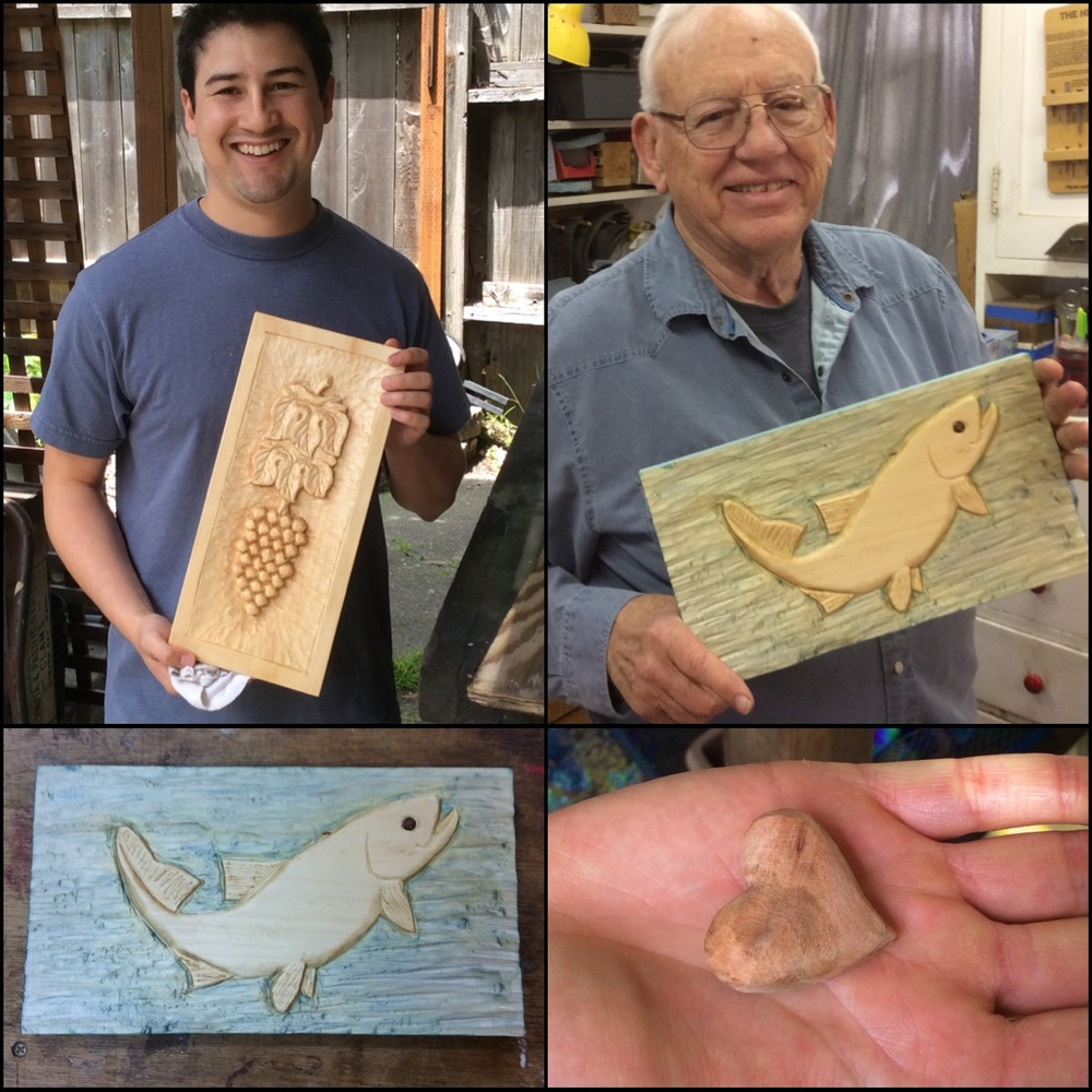 Angel finished his Grapes and Leaves and a sweet little exotic wood heart for his very soon to be wife.  Congratulations!  Art finished his trout carving.  The low relief basswood fish was smoothed and the background left with a tooled texture and then colored with  diluted antique writing ink to get a cool watery background.