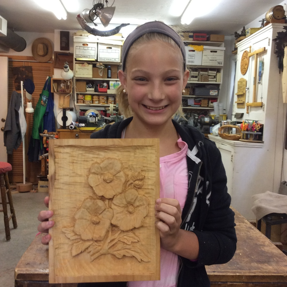DC Bill's Granddaughter, Josie, carved this beautiful deep relief carving as her second basswood carving.