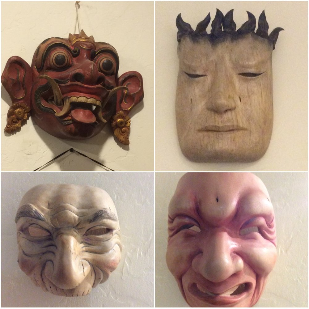 I am heading off to Bali to be a carving student with Mask carver  IDA BAGUS ANOM SURYAWAN.  Upper left mask is a traditional Balinese mask by Anom.  Below that is my first Bali Style mask that I did with some assistance from Anom.  The other two are Bali style masks that I did on my own.  I have no idea what I will be carving while I am in Bali.  Maybe it will be more of the traditional style and maybe more Sheri style.