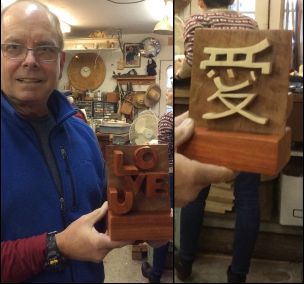 Every year Doug has been carving his wife a three dimensional wood Christmas card.  This year it was influenced by their vacation to Japan.