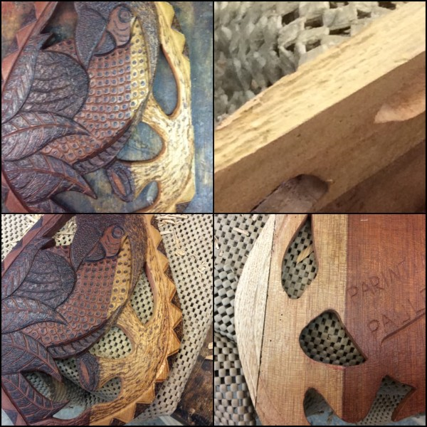 This was a repair job I did last month. The carving was from Brazil and a piece broke off and they didn't have the piece. The top left shows where the damage was and the piece missing. The top right shows the edge and the reason that it broke. The carving was from one piece of wood and the light area was the sap wood. The sapwood had beetle damage. From the surface there was only a couple of tiny holes but the edge shows the channels that the bugs chewed. That was probably the reason the piece broke there. The bottom two pictures show the repair. I used butternut to try and match the color and texture of the wood, although it is softer than the original wood. The patch and seam show on the back but I was able to match the design and wood burning pretty closely on the front. I am hoping that with aging the color will get more yellow and darker and will be even closer than it is now. Conor finished another tiny critter. Carved, painted and wood burned basswood.