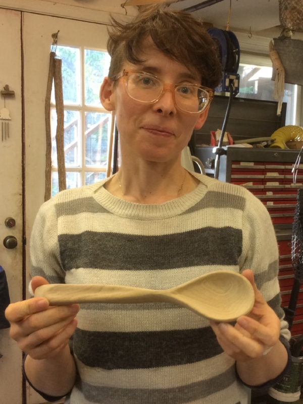 Martha has finished 2 ash mallets and is now working on spoons and more spoons.