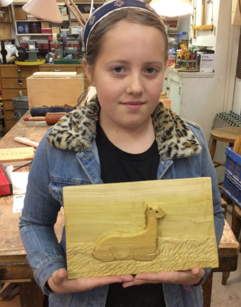"Echo carved this deep relief (about 5/8"" deep) of an alpaca from poplar."