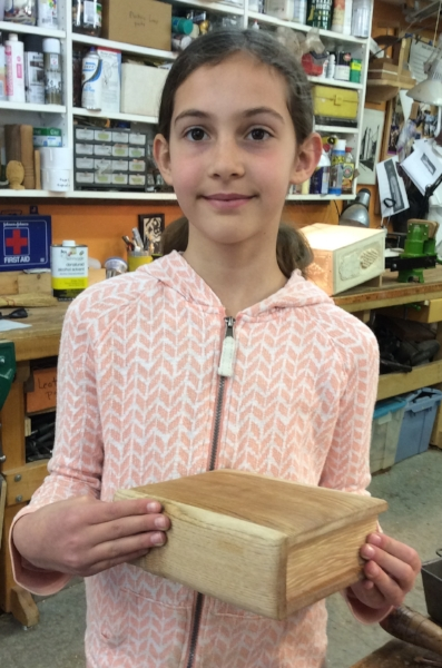 "Maize completed her Butternut and basswood ""Book"" Box."