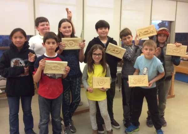 Here is the Randall kids class with their finished pieces.