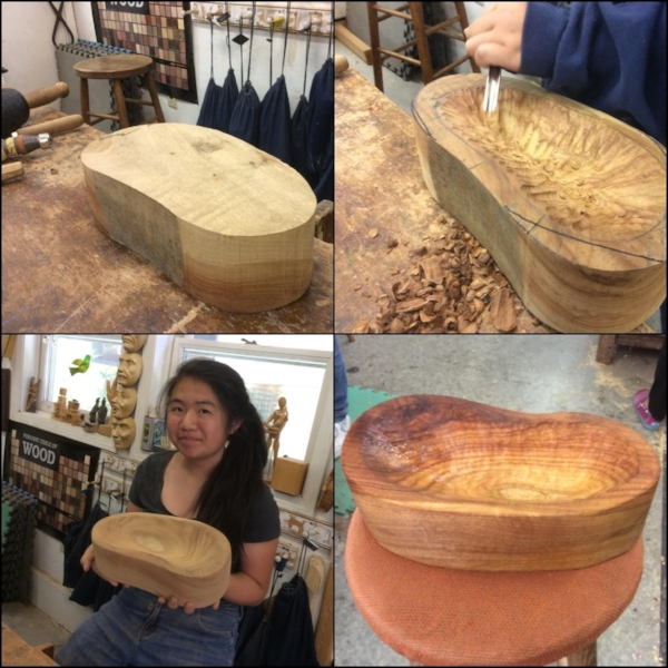 Ashly come to woodcarving with a very special request. Her seventh grade woodshop teacher told her she didn't have enough time to start a bowl in class. She was sure she could so came to prove him wrong. She really was a super focused carver. She carved this Camphor bowl in less than two weeks. What a great lesson for all.