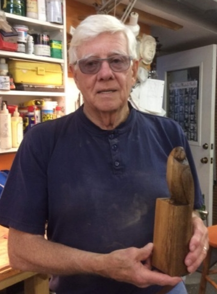 Dave finished his parrot carved from Myrtle wood.