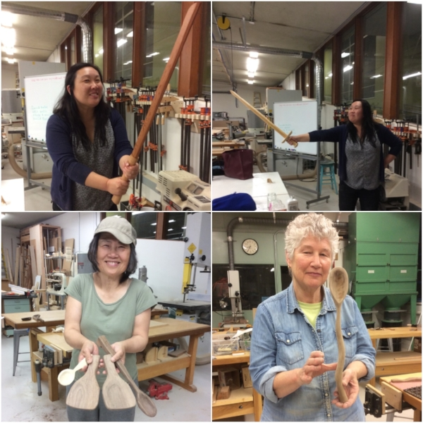 The Randall adult class had fun carving spoons, bowls and wooden swords.