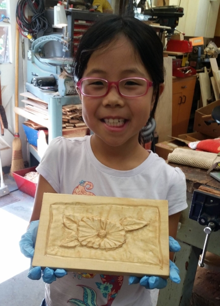 Welcome to Rosie. She carved a flower in just two sessions.
