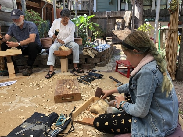 Workshop #2 of Balinese Mask carving. Again it was a very diverse group. 12 year old Echo with 4 year of experience under her belt and John with just the Grapes and leaves carved. Elena has attended every Mask workshop since we started having them so this makes #5 for her.