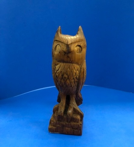 The owl is also completed by Martha. It is carved from a lovely old piece of Redwood with Birdseye figure throughout. Hard to carve but beautiful.
