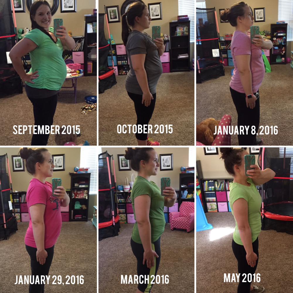I am 2 weeks postpartum in the top left picture. If you are on a fitness journey, take pictures!!! I don't love my before pictures but I do love seeing how far I've come! There were some weeks when the scale wasn't budging but I could see a change in the photos. It is another great way to measure progress.