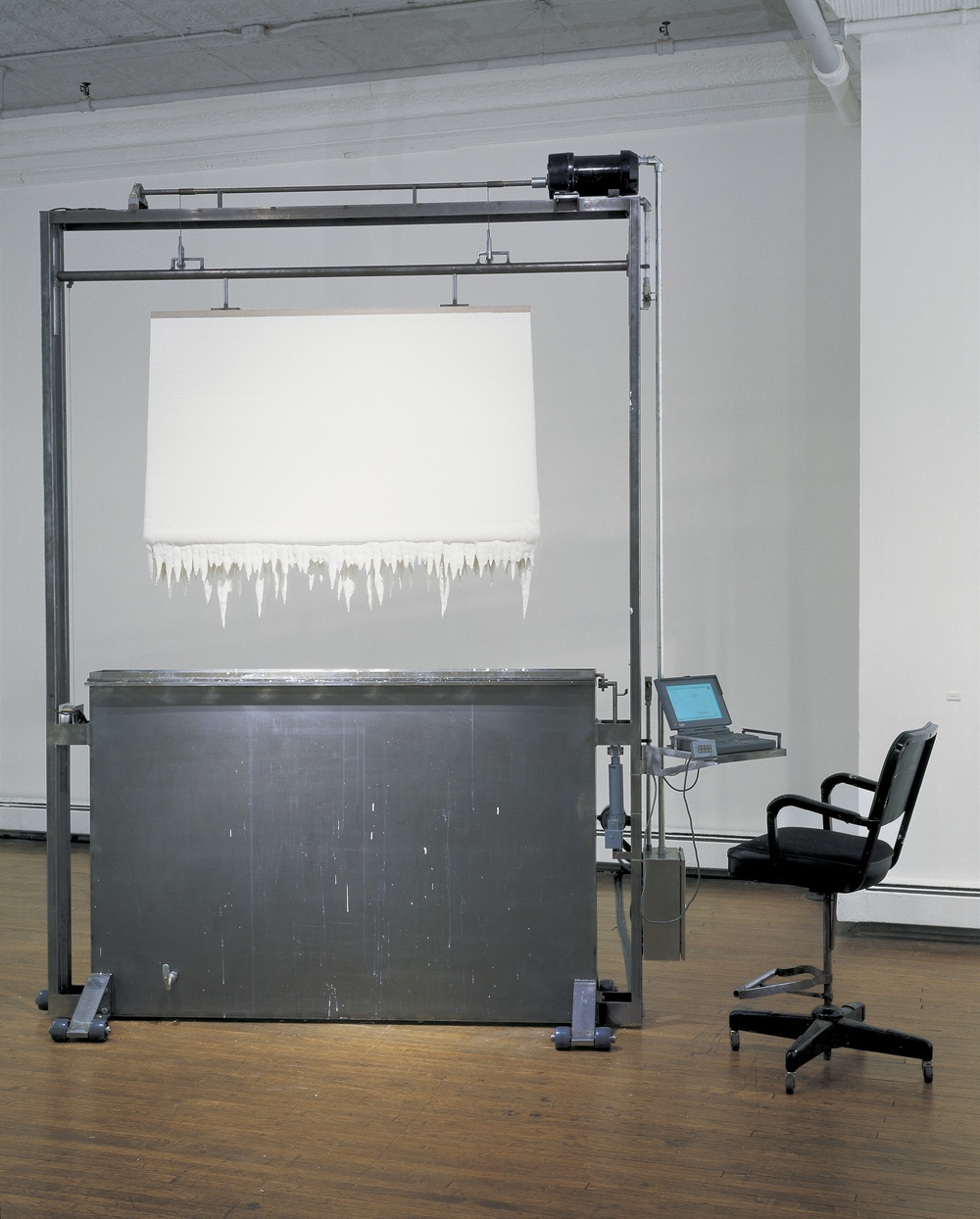 Paint Dipper, 1996, Steel, acrylic paint, computer, motors, interface, relays, chair, 124 x 99 x 24 inches