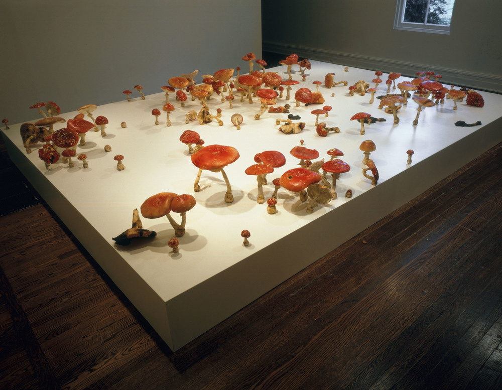 Amanita Muscaria Field, 2000, Thermoset polymer, epoxy, stainless steel, lacquer, and oil paint, 162 x 115 x 20 inches