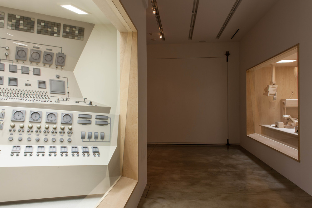 "Control Room, 2013, steel, wood, automotive paint, glass, fluorescent, 13' 7"" x 18' 2 3/8"" x 12' 5"", Kavi Gupta Chicago 