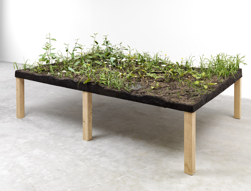 Bad Lawn, 1998, Epoxy, PVC, polymer, steel, wood, PETG, lacquer, oil paint, and earth, 48 x 120 x 84 inches
