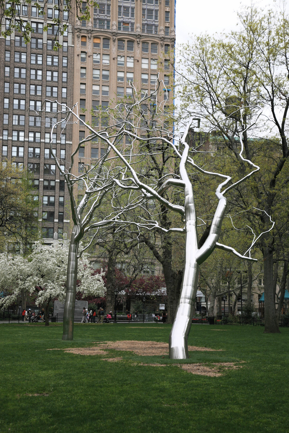 Conjoined, 2007, Stainless steel and concrete, 42 x 46 x 28 feet   Conjoined   was first commissioned and exhibited at Madison Square Park, New York, from 2007 to 2008.  The falseness or illogical growth of these dendritic structures form a kind of hallucinatory or unreal experience.    Conjoined   also represents a venturing from the earlier work, characterized by an emphasis on restraint, into the additional possibilities of rhizomatic structures and ideas.  As in all the Dendroids, heavy gauge utilitarian and industrial pipes are physically altered by means of tremendous hydraulic and mechanical pressure to contradict their original function and physical anonymity.    Conjoined   was acquired by the Modern Art Museum of Fort Worth designed by architect Tadao Ando.