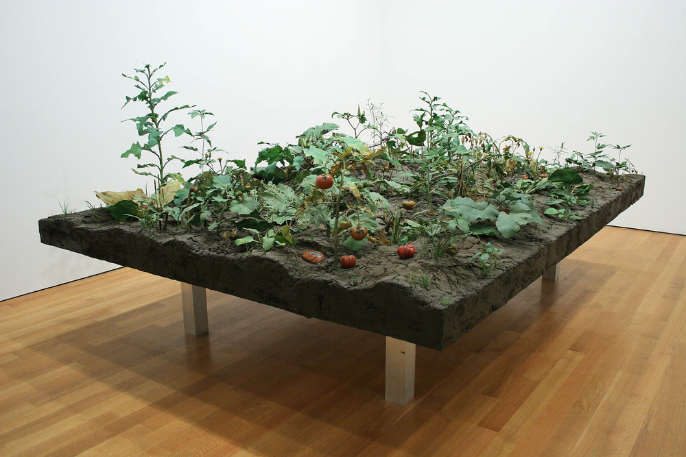 Weed Choked Garden, 1998-2006, Thermoset polymer, oil paint, PETG, stainless steel, lacquer, epoxy, and pigment, 65 x 139 x 96 1/2 inches