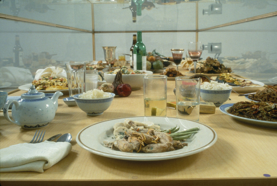 Dinner of the Dictators, 1993-1995, freeze-dried food, place settings, glass wood, dehumidifier, 427 1/4 x 118 1/2 x 50 inches