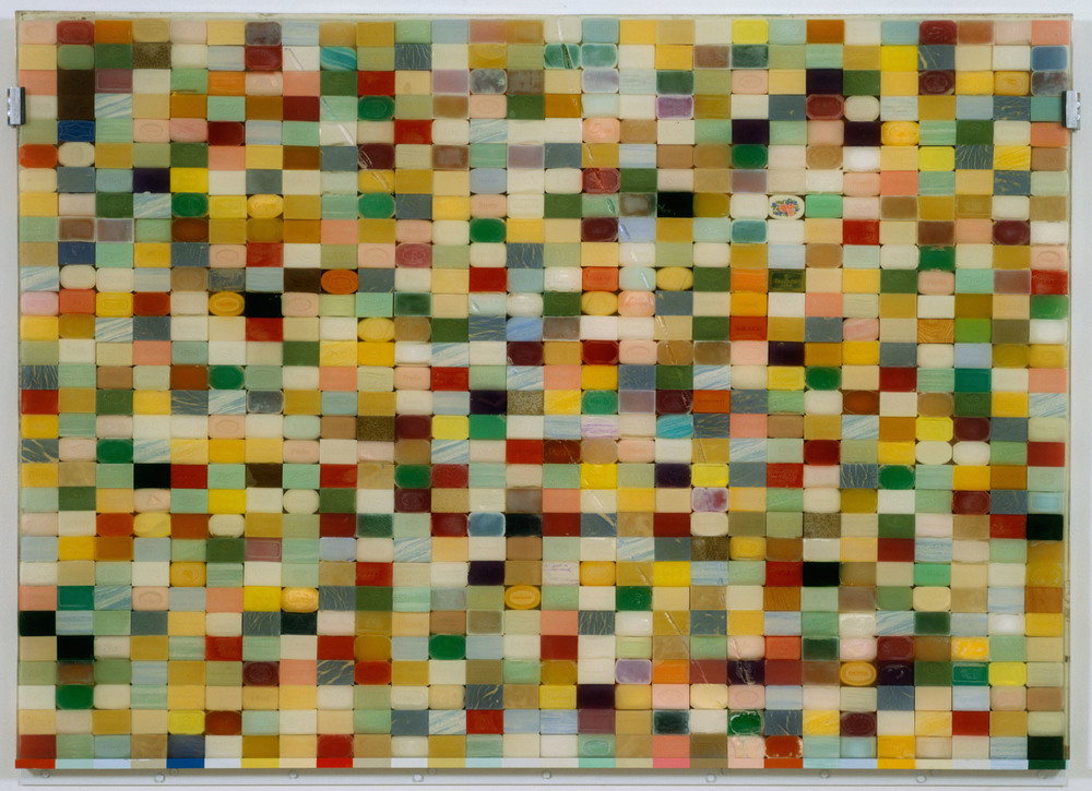 Large Soap, 1993, 840 bars of soap encased in resin, 60 1/4 x 84 1/4 inches