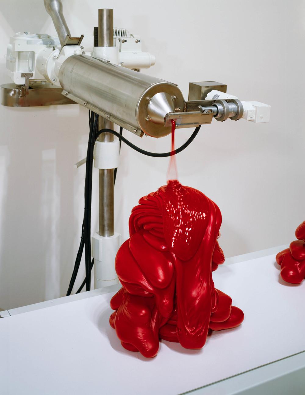 Scumak No. 2, 2000, aluminum, computer, conveyor, electronics, extruder, stainless steel, polyethylene, teflon, 890 x 73 x 276 inches