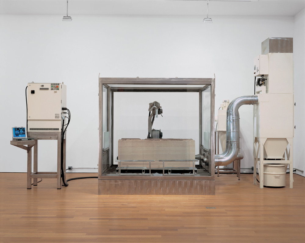 Erosion Machine, 2005, Stainless steel, rubber, felt, glass, galvanized steel, sandstone, silicon carbide, electronics, dust collector, reclaimer, computer, robot, and air, 138 x 252 x 137 inches