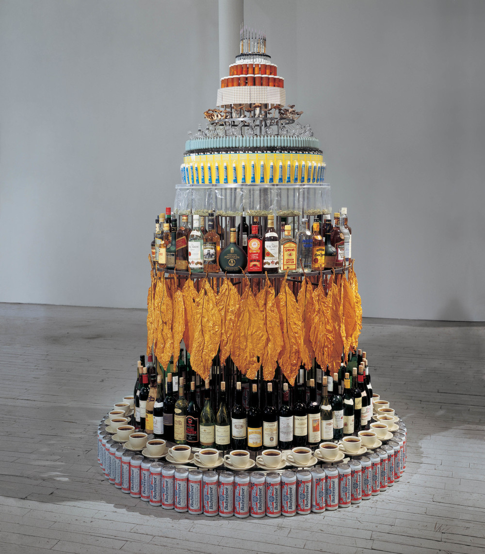 Drug Ziggurat, 1993, Steel, aluminum, plastic, glass, ceramic, paper, ink, fungi, herbs, and cork, 94 x 72 x 72 inches
