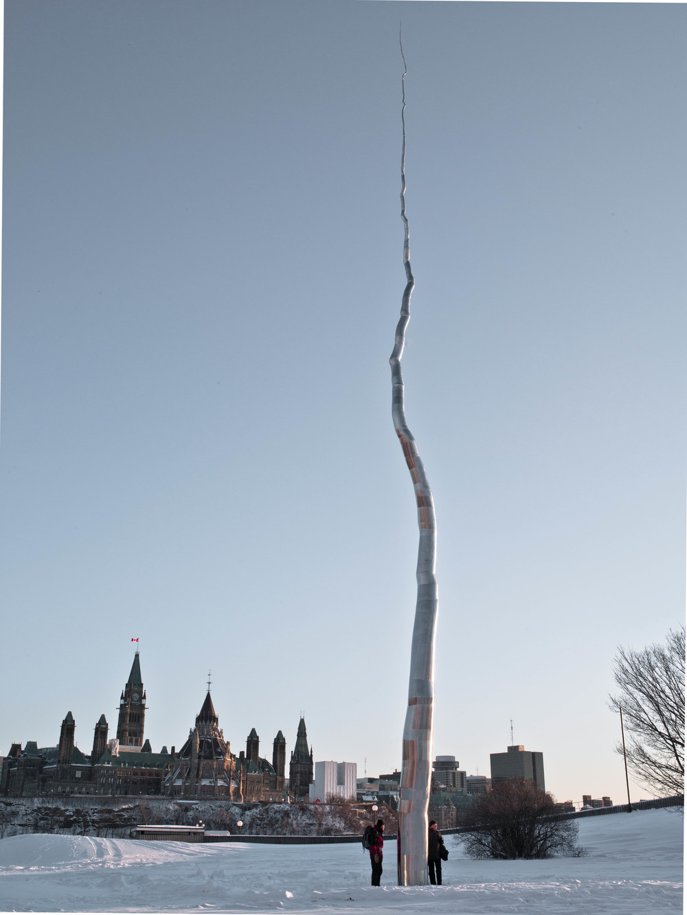 One Hundred Foot Line, 2010, Stainless steel, 103 x 8 x 10 feet   Located on the historica Napean Point and overlooking the Ottawa River,   One Hundred Foot Line   first began as the most controversial sculpture in the Dendroid series, to then after installation and viewing, becoming a widely praised public monument in the city.  With its soaring height,   One Hundred Foot Line   can be viewed from many locations throughout the city as a point of reference to the National Gallery of Canada, designed by architect Moshe Safdie.  A most significant piece in the trajectory of the Dendroid series,   One Hundred Foot Line   is the contrary collision between utilitarianism and the sublime, whilst also representing a distilling of the Dendritic form into its (seemingly) simplest manifestation.