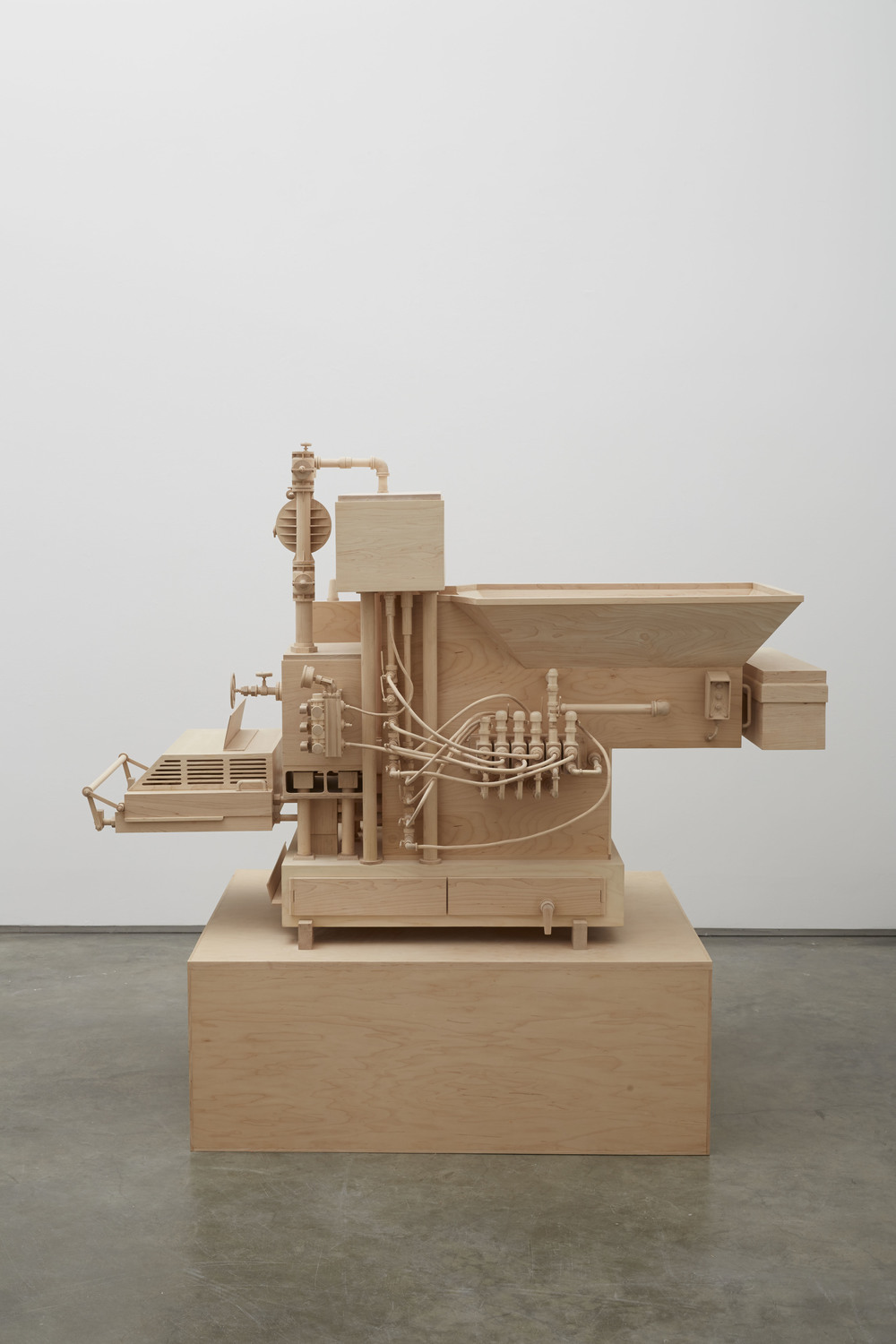 Machine of Indeterminacy, 2014, Birch wood, 66 x 40 x 44 1/2 inches, Photo: Jason Wyche