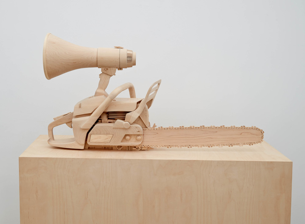 Speech Impediment, 2014, Maple wood, 23 x 40 x 11 inches, Photo: Jason Wyche