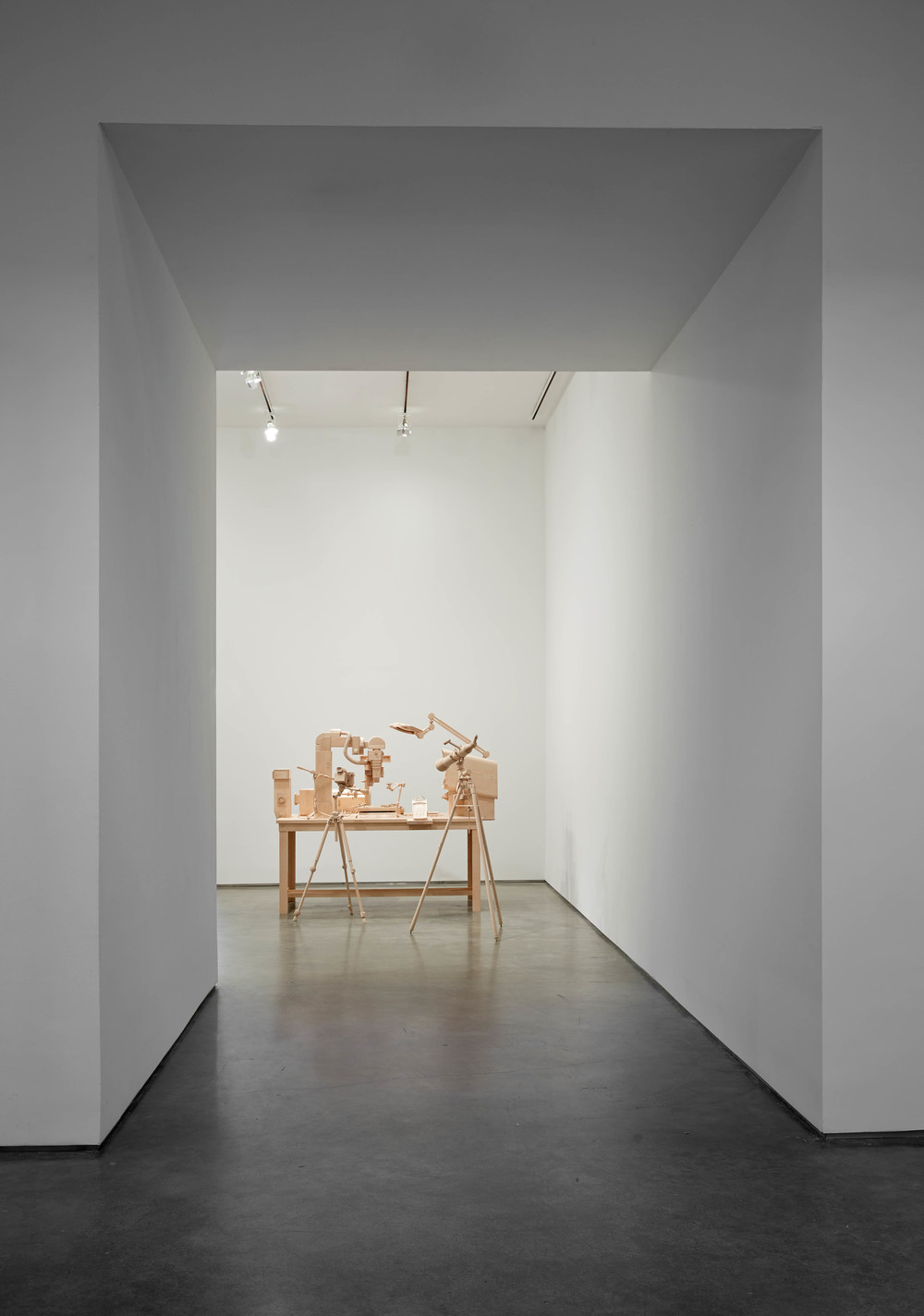 Scrutiny, 2014, Maple, Table: 33 x 72.5 x 38 + 14 inches, Telescope and Tripod: 58.5 x 40 x 26 inches, Photos: Jason Wyche