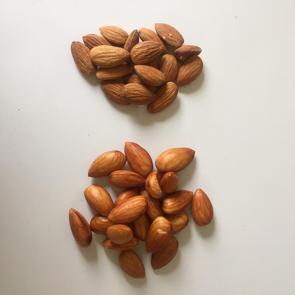 // After soaking the almonds, they turn into bloated almonds. This is where being bloated is good.