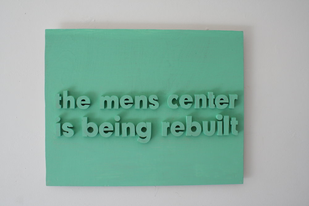 Mens Center , 2018  Acrylic on wood  21.5 x 17 x 1  inches