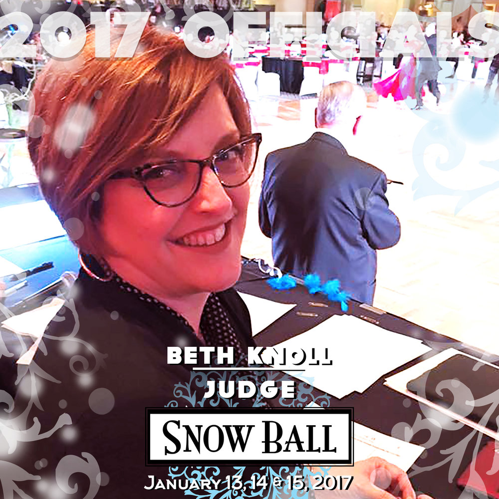 """JUDGE Beth Knoll Oregon """"My most embarrassing moment happened at my very first World Championships in Germany. I was nervous and overwhelmed and the floor was coated in dance wax,which I hate. I was wearing a lace dress that developed a tear in the bodice. While we were dancing I slipped on the wax and my dress caught on Steven's tail suit. I was dancing like a marionette and he was yelling, 'Get up. Get up.' and I kept saying, 'I can't. I can't.' In between rounds I tried to repair my dress, but I didn't have any pins or scissors with me. All I had was a bottle of nail polish so I decided to try to polish the lace together. I was so frazzled that I didn't realize I was holding the bottle upside down and spilling polish all over my costume."""""""