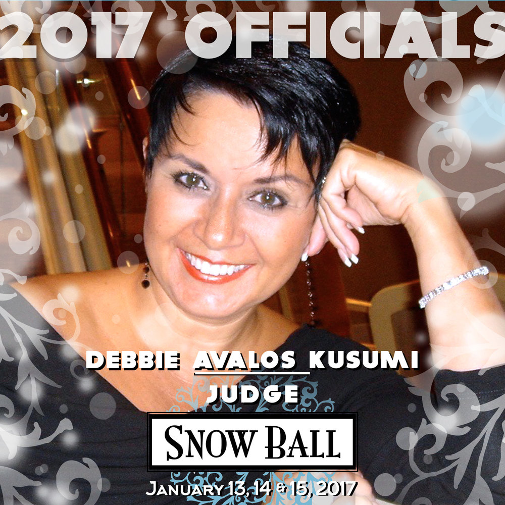 """JUDGE Debbie Avalos Kusumi Arizona """"I was dancing a show with Victor Veyrasset. Back then we wore ball gowns with tulle or net crinolines. In the dress I was wearing for our quickstep, my crinoline had a waistband and a hook to hold it to the dress. We were flying down the floor to the song 'If My Friends Could See Me Now'' when the hook broke and the crinoline detached. I reached over Victor's arm to grab the falling petticoat and there was tulle reaching from the floor to up over the top of Victor's head while we danced. I thought maybe he would stop, but he didn't. It looked like a giant fan following us around the floor."""""""