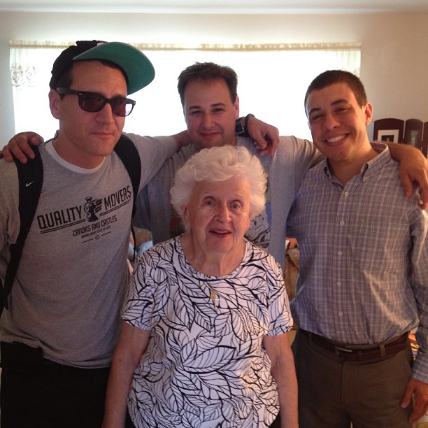 Me with my 2 cousins & my 91 year old grandma!