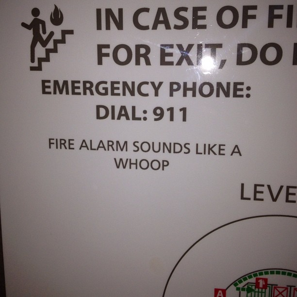 """Fire alarm sounds like a whoop"" as opposed to the other fire alarm that sounds like a duck? (at The Westin Peachtree Plaza)"