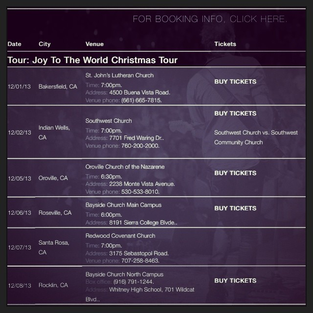 Hey Cali! I'm heading out to see y'all for 5 dates w/ @lincolnbrewster for the joy to the world tour! Check out the dates in the pic..