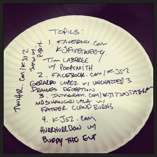Got em! 5 topics: poopsmith/drakes deception/father Claud burns/buddy the elf/publix