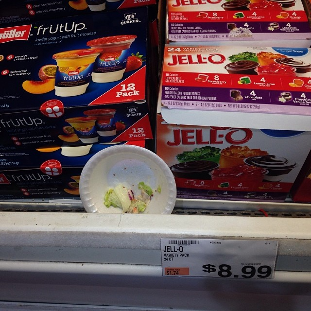 I wonder if they'll take 1/2 off coupons on the 1/2 eaten salad in the jello aisle..