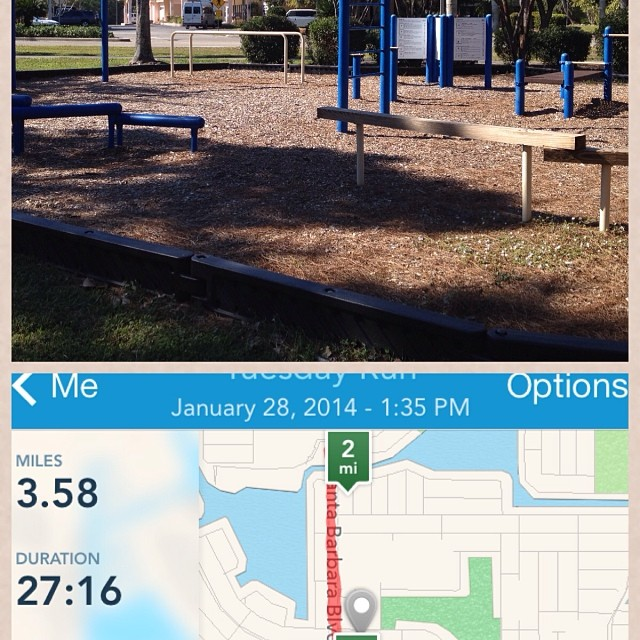 3.5 mile run + playground workout = weird looks from my neighbors.