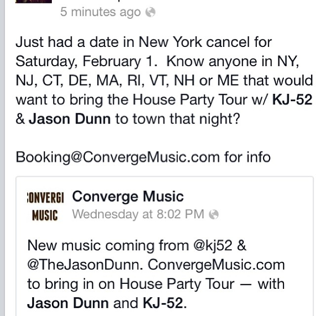 Just had our Saturday tour date cancel.. Anyone wanna book us? see pic for details booking@convergemusic.com