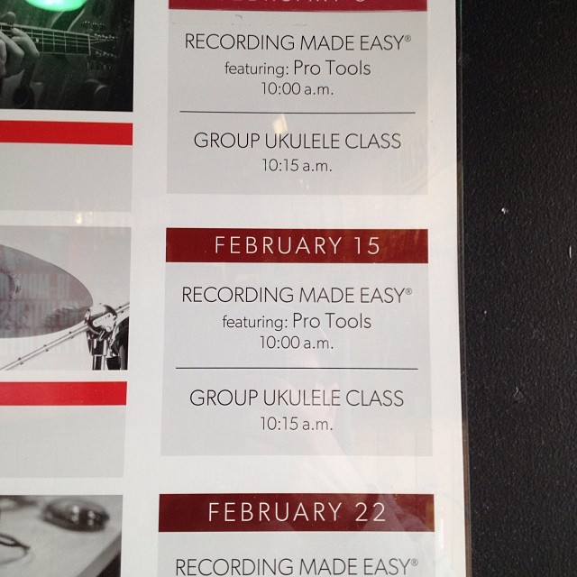 Group ukulele class.. Cause sometimes one Taylor swift just isn't enough.. (at Guitar Center)