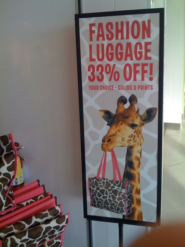 Ain't nothing fashionable about giraffe colored suitcases…