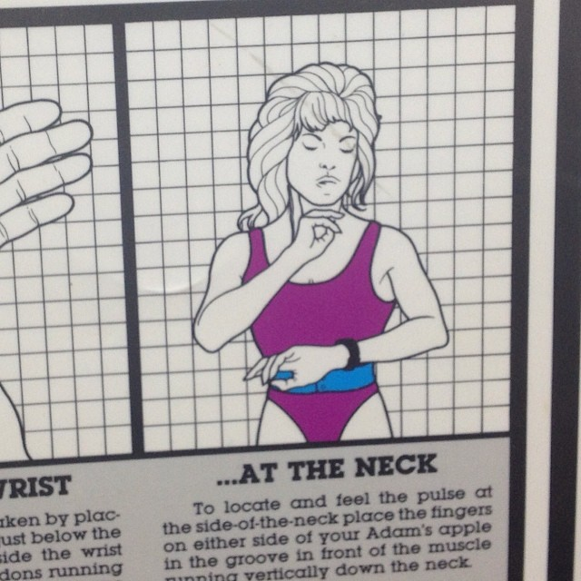 Homegirl needs to worry less about her pulse and more about where to give back that 1985 leotard & haircut..