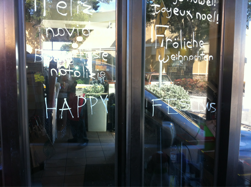 """My local starbucks.. """"happy festivus (for the rest of us)"""""""