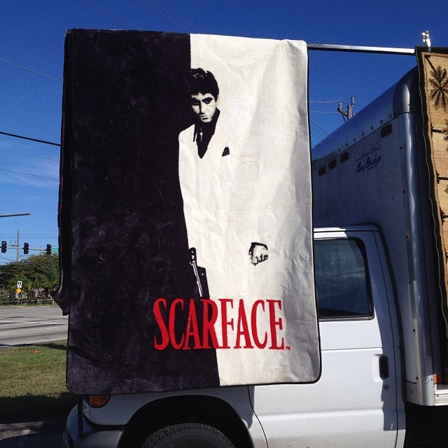 How do I know I live in South Florida? The fact that I can buy a Scarface area rug on the corner…