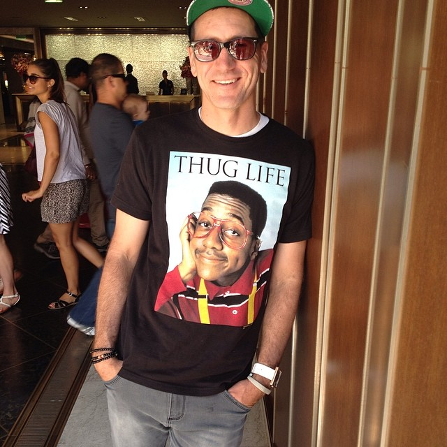 """Someone said was """"Totes' repping that thug life"""" today in LA. (Not sure what that means..)"""
