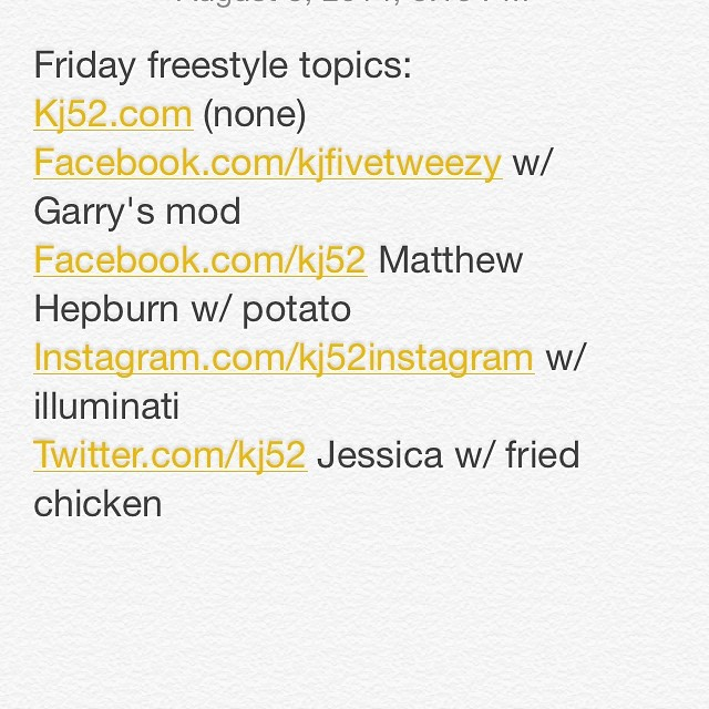 Got my topics! (For those that don't know I pick them based on the first people to respond) freestyle coming shortly!